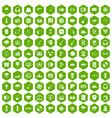 100 music festival icons hexagon green vector image vector image