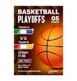 basketball sport playoff game flyer banner vector image vector image