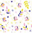 butterflies flowers seamless pattern vector image