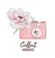 camera with peony collect vector image vector image