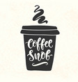 coffee snob inscription coffee mug silhouette vector image vector image