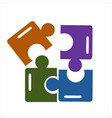 colorful puzzle or jigsaw teamwork company logo vector image