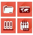 Concept of flat icons with long shadow office vector image vector image