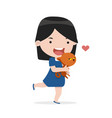 cute girl hug cat with love vector image vector image