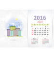 Cute sweet cityscape calendar for 2016 April vector image vector image