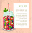detox diet poster jar refreshing strawberry drink vector image