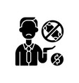 donor exhaustion black glyph icon vector image