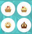 flat cake set of sweetmeat confectionery vector image vector image