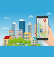 flat gps navigation in phone with a red and vector image vector image
