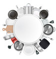 frame with kitchen utensils and dishes realistic vector image