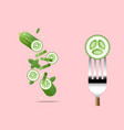 fresh cucumber on fork with flying cucumbers vector image vector image