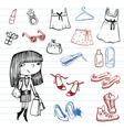 Girl of fashion doodle set vector image