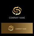 gold letter s circle logo vector image vector image