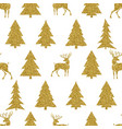 golden christmas tree and deer on white background vector image