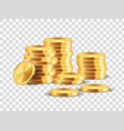golden coin stack realistic golden dollar coins vector image