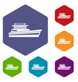 great powerboat icons set vector image vector image