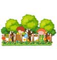 happy children watering plants in garden vector image vector image