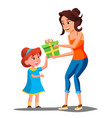 happy girl receives gifts from parents vector image vector image