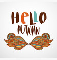 hello autumn print with wavy doodle art hand vector image vector image