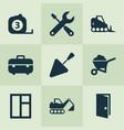 industry icons set with bulldozer trowel door vector image vector image