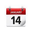 January 14 flat daily calendar icon Date vector image vector image