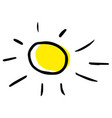 modern hand drawing a sun in childish style vector image vector image