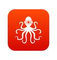 octopus icon digital red vector image