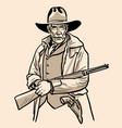 old sheriff with a hat and rifle cowboy face vector image