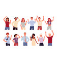 people greeting and waving hand set diverse happy vector image