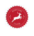 red retro round logo hunt club with deer vector image