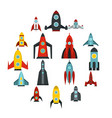 rocket icons set flat style vector image vector image