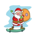 Santa Claus with skate board vector image vector image