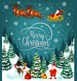 santa sleigh with christmas gifts greeting card vector image vector image