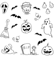 Scary Halloween doodle set vector image vector image