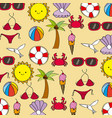 seamless pattern summer weather season icons vector image vector image