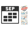 September Calendar Grid Flat Icon With vector image vector image