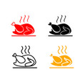 set of roasted chicken icons vector image