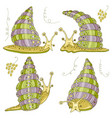 set with cute achatina fulica snails funny snails vector image