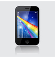 Smartphone with Abstract Rainbow Theme on Gr vector image vector image