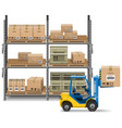Storage with Forklift vector image vector image