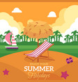summer holiday banner with beach and lounge chair vector image vector image