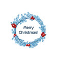 tradition blue wreath spruce merry vector image vector image