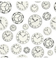 vintage clocks retro watches colorless seamless vector image