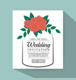 vintage wedding invitation with floral elements vector image vector image
