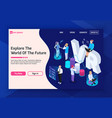 vr future landing page vector image vector image