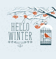 winter landscape with snow-covered rowan and bird vector image vector image