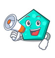 with megaphone pentagon character cartoon style vector image vector image