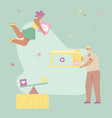 woman carries email button man holds webpage vector image