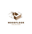 wood logo with letter j shape vector image vector image