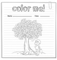 A worksheet with a money tree vector image vector image